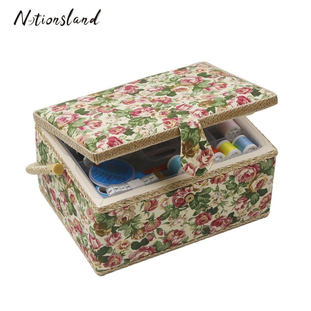 Thimble Thread Craft Machine Wood Sewing Storage Boxes Without Needle G
