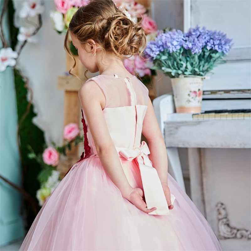 Кружевное бальное платье с цветочным узором для девочек, для свадебной вечеринки, элегантные Детские платья для девочек, платье принцессы, детское Новогоднее платье