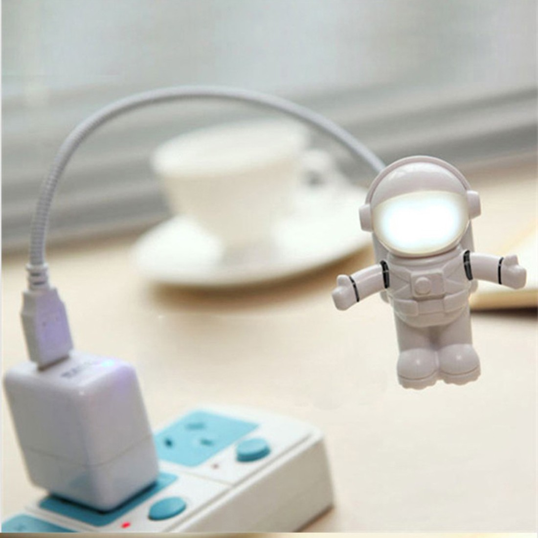 Pure White LED Night Light Astronaut Spaceman USB LED Adjustable Night Light For Computer PC Lamp Desk Light