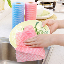 50pcs/Roll Non-woven Fabric Kitchen Cleaning Cloth Multi-functional Disposable Dry/wet Non-stick Oil Wash Towel Dishcloth