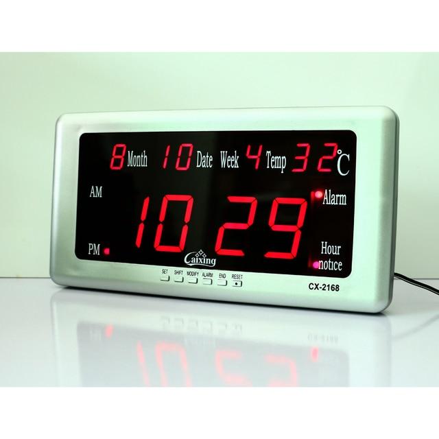 ac0d5611d022 Reloj despertador Digital de pared LED reloj despertador electrónico con  temperatura calendario fecha semana pantalla grandes