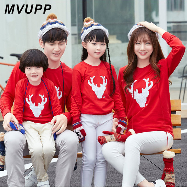 90e09cca MVUPP Deer Christmas Sweater Mommy and Me family matching clothes tshirt  Sets Mom Dad Son Baby Girls family look Outfits 2 style