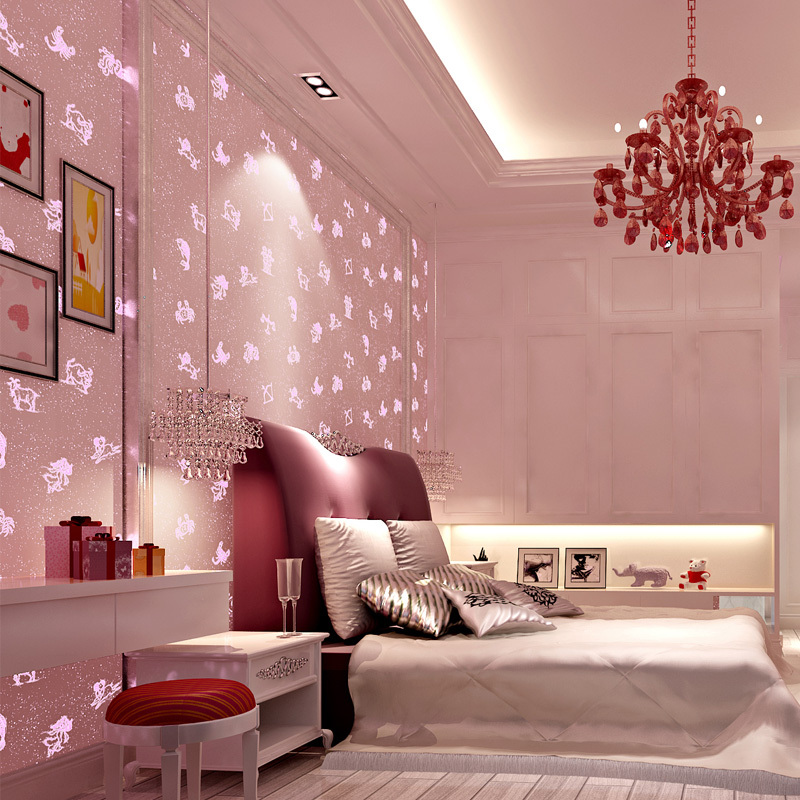 Pink luminous wallpaper roll non woven wallcoverings for Luminous bedroom