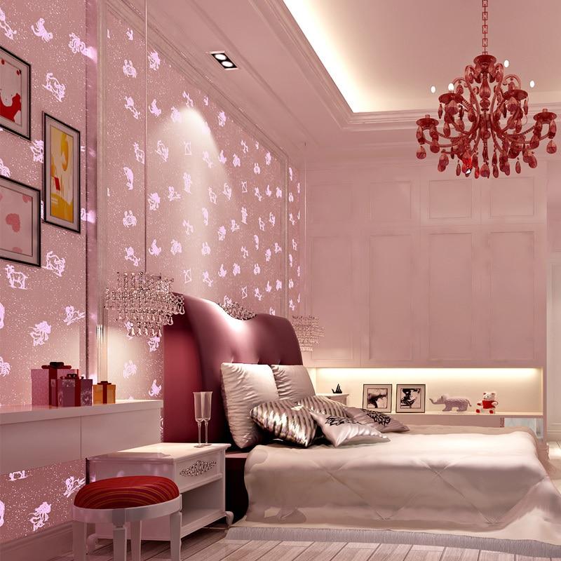Rose lumineux papier peint rouleau non-tissé revêtements muraux fluorescent enfants chambre garçon fille chambre de bande dessinée constellation papier peint