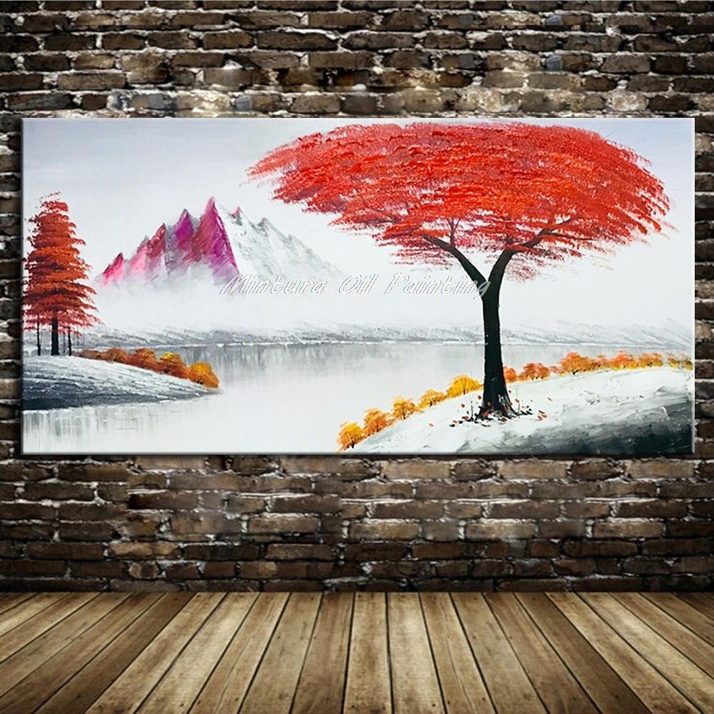Mintura peintures à l'huile photos murales pour salon fleurs qui poussent sur les arbres Art peint à la main plantes modernes dessiner pas encadré - 4
