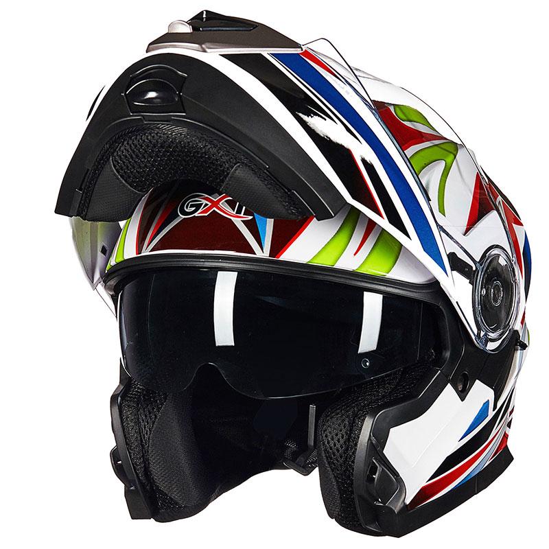 4 сезона мотоцикл GXT 160 откидной шлем двойная линза полный шлем Casco DOT ECE стикер Гонки Capacete - 2