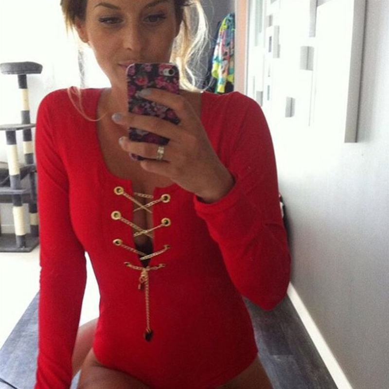 04f7a6088f6 Sexy Women Long Sleeve Bodysuit Metal Chain Criss Cross Plunge V Neck  Jumpsuit Tie Stretch Leotard Crop Tops Playsuit Cluwear on Aliexpress.com