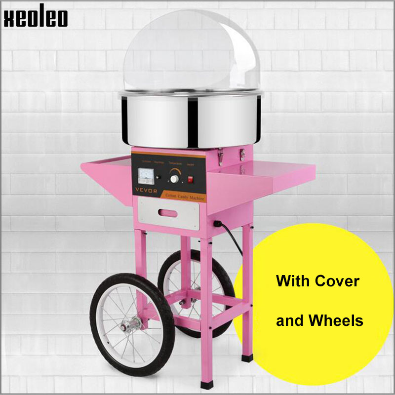Xeoleo Cotton candy machine Candy floss machine Electric Candy Maker 220V/110V with Wheel and Cover Commercial  Candy maker 1kw free shipping commercial 110v 220v electric 25 cotton candy floss maker machine 100pcs 14 bamboo skewers