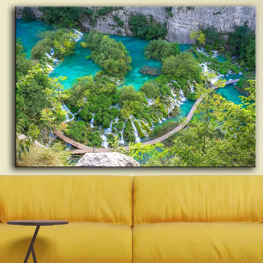 Printing Oil Painting Wall Art, Wall Decor, Wall Painting Plitvice Lakes Croatia landscape Nice Painting for wall picture