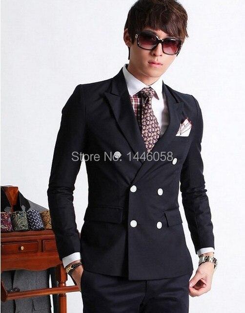 Aanpassen Breasted Side Vent Bruidegom Tuxedos Donkerblauw Piekte Revers Slim Fit Wedding Kleding Pak (Jas + broek)
