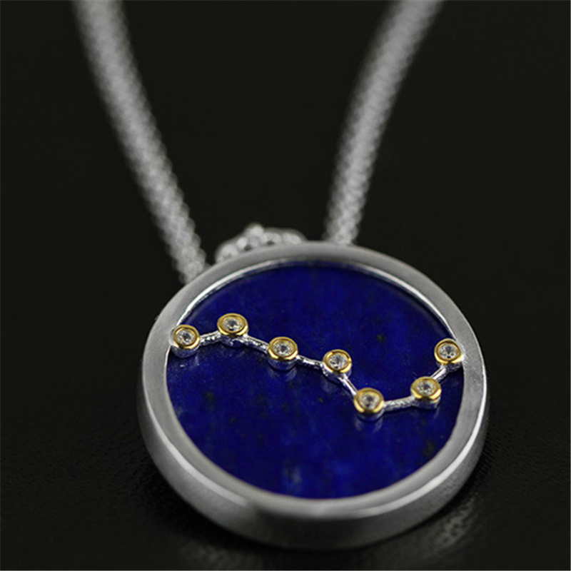 Lotus Fun Real 925 Sterling Silver Natural Blue Lapis Handmade Fine Jewelry Queen of Night The Big Dipper Pendant without Chain okatova aleksandra queen of the night