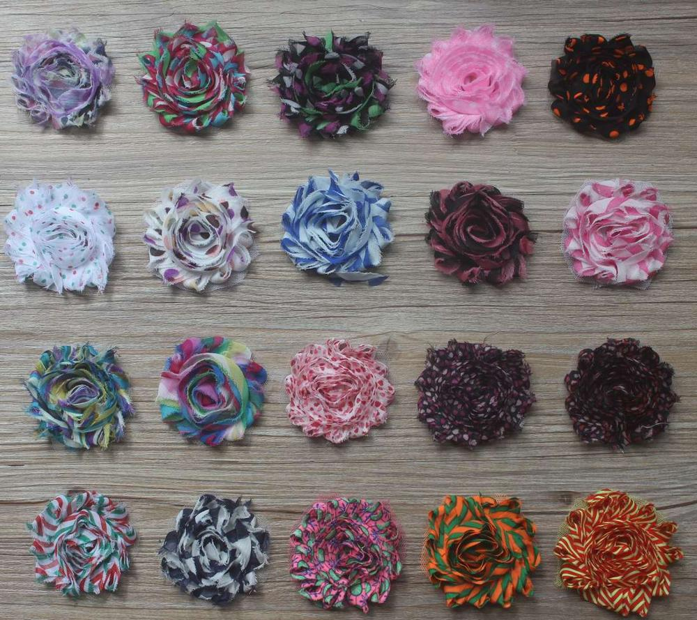 Free DHL 155y 2 5 shabby chiffon print flowers for girls hair accessories kids headband flowers