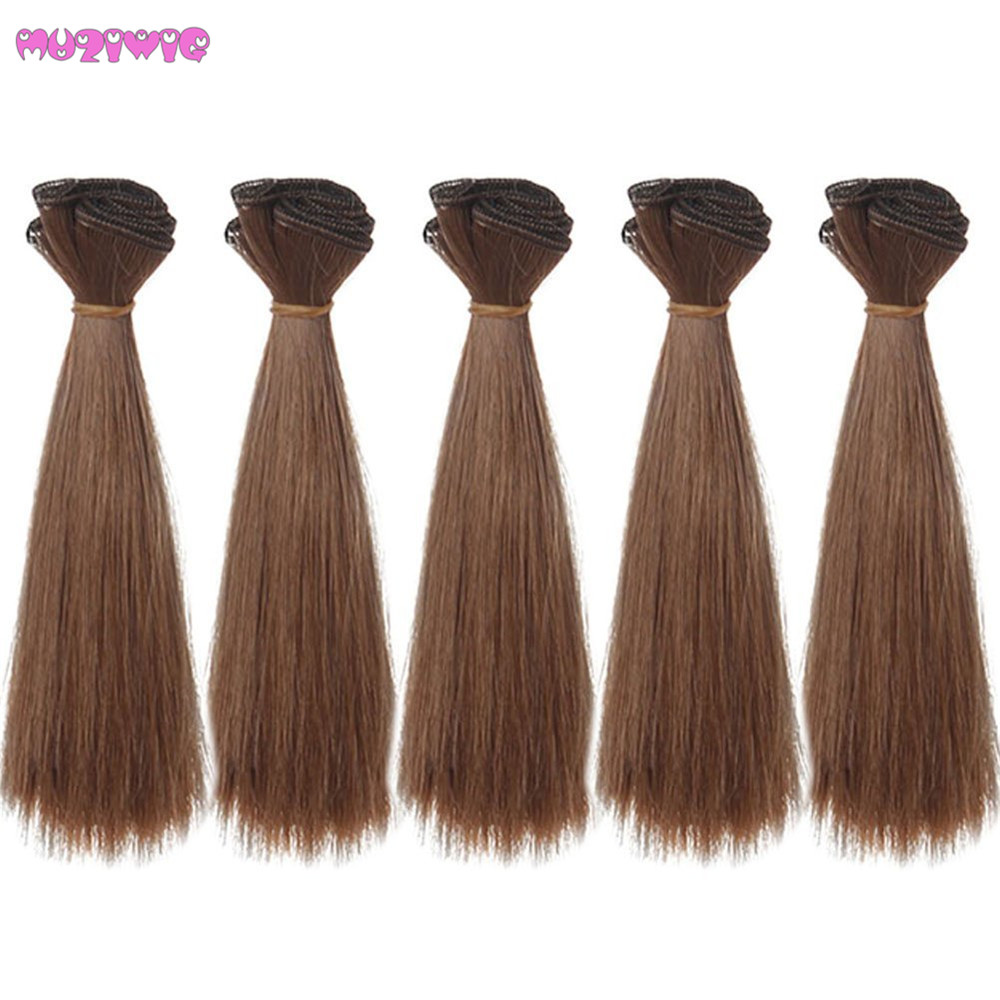 15cm DIY Doll Heat Resistant Wire Straight Hair Wig Red Brown Purple Khaki Blue Gold Color