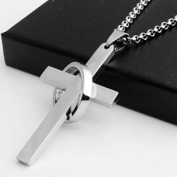 Simple Cross With Circle Pendant Necklaces Stainless Steel Chain Christ Cruz Necklace For Men Boys Cool Neck Jewelry Collier