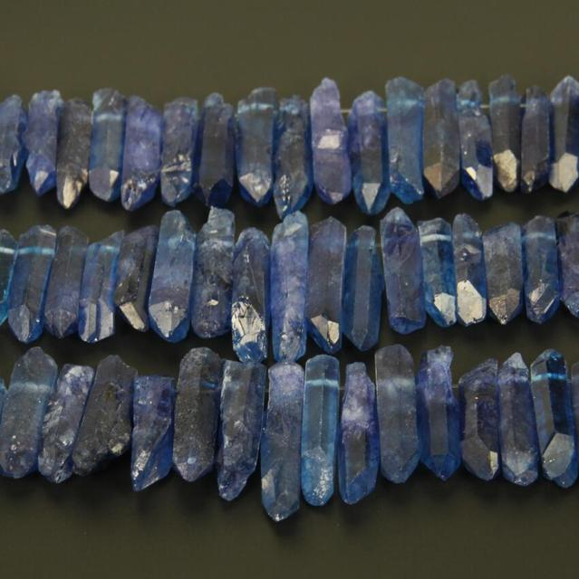 Rough Lapis Blue color Quartz Crystal Top Drilled Tusk Spike Beads Necklace strand,Natural Crystals Stones Stick Points Jewery