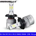 Ironwalls H1 H4 H7 H11 H13 9005 9006 Led Headlight Bulbs 72W 6500K 8000Lm COB Chips Hi-Low Beam Single Beam Headlamp Kit 12/24V