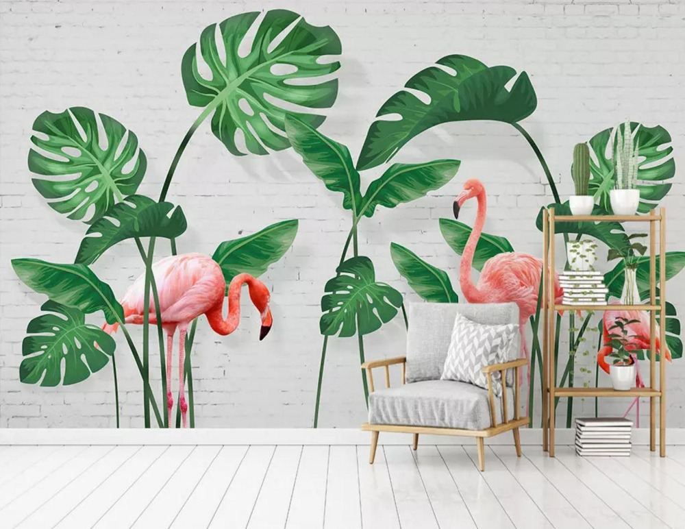 [Self-Adhesive] 3D Pink Flamingo Green Leaves 44 Wall Paper Mural Wall Print Decal Wall Murals