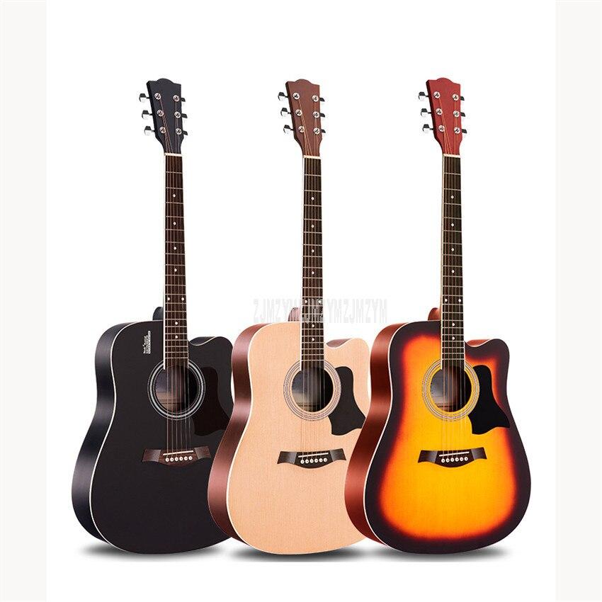 Guitare Folk acoustique Guitarra 40/41 pouces pratique Basswood bois 6 cordes guitare avec sac pour débutant amoureux d'instruments de musique