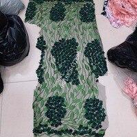 3D applique Rose Vert broderie avec perles embrodiery net tulle maille dentelle tissu pour le mariage/robe de soirée/haute couture