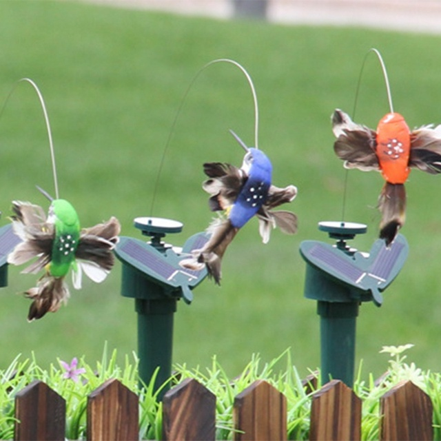 Funny Solar Toys Flying Fluttering Hummingbird Flying Powered Birds Random Color For Garden Decoration Drop Shipping 5