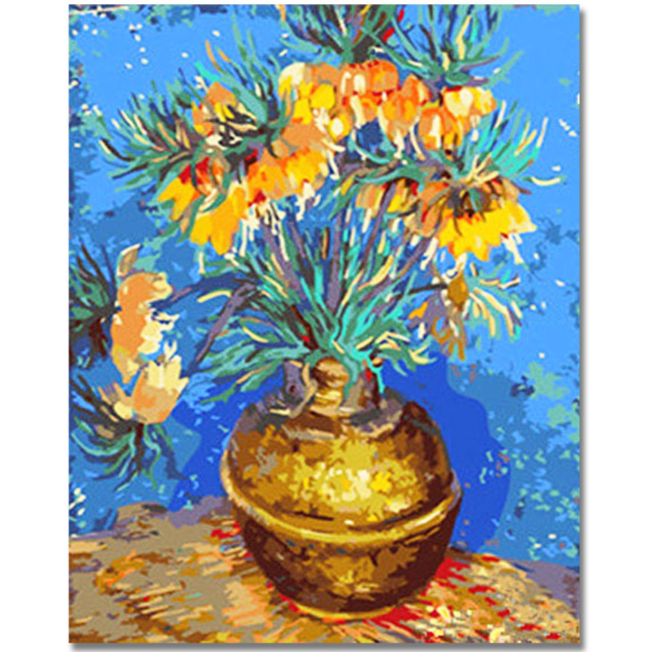 WEEN flowers vase DIY Painting By Numbers Kit For Kids Wall Art Picture Acrylic Paint Canvas Painting Home Decor 40x50cm in Painting Calligraphy from Home Garden