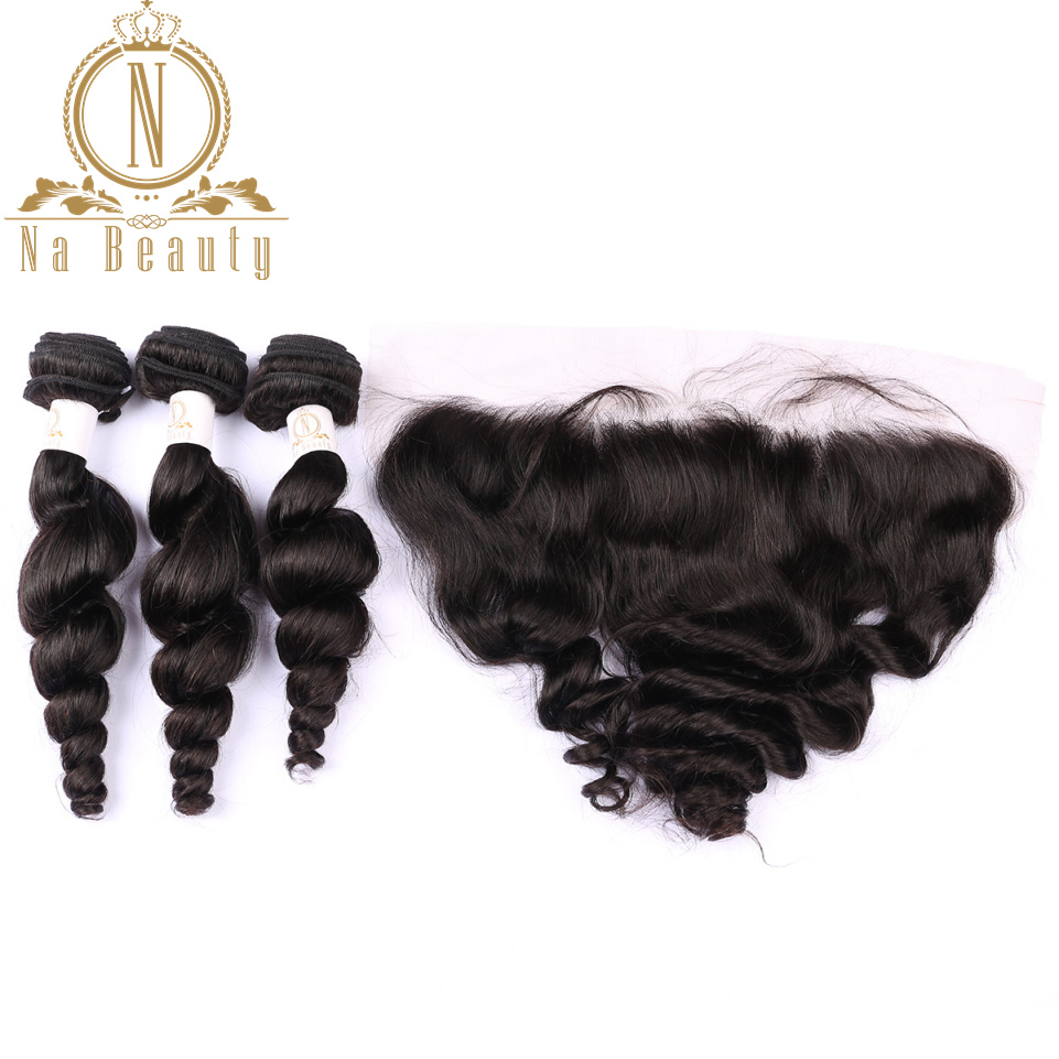 Brazilian Loose Wave Human Hair 3 Bundles With 13*4 Closure Lace Frontal Front Remy Hair Bundle Deal Black Woman Free Part