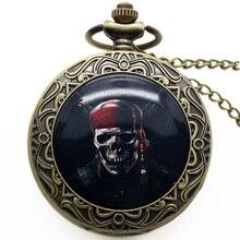 Antique Steampunk Quartz Pocket Watches Round Skull Gothic Style Fob Clock Pendant Men Gift Free Shipping