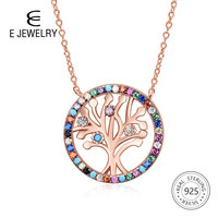 E Jewelry Tree of Life Silver 925 Pendant Necklace Rose Gold Plated Rainbow CZ Zircon Necklaces For Family Jewellry Gift 2019