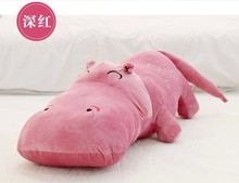 lovely new plush hippo toy dark pink cartoon hippo doll gift toy about 120cm