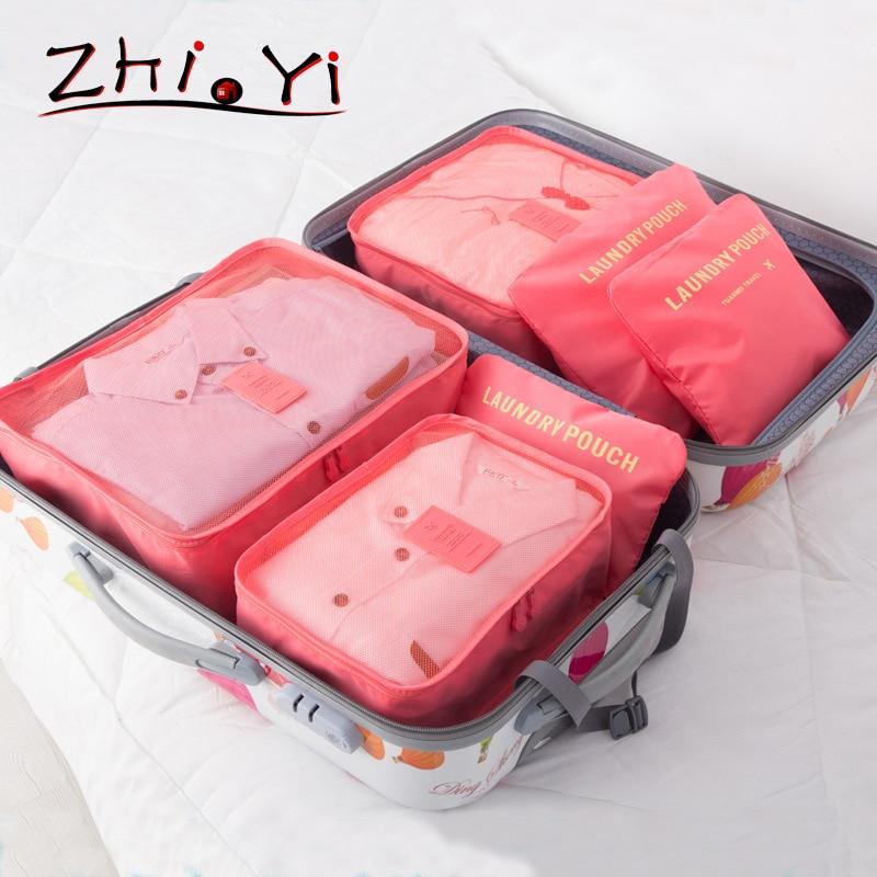 6 PCS/LOT Travel bags Women's men's storage Panty Bra Underwear organizer Clothing Cosmetic bag Overnight Accessories