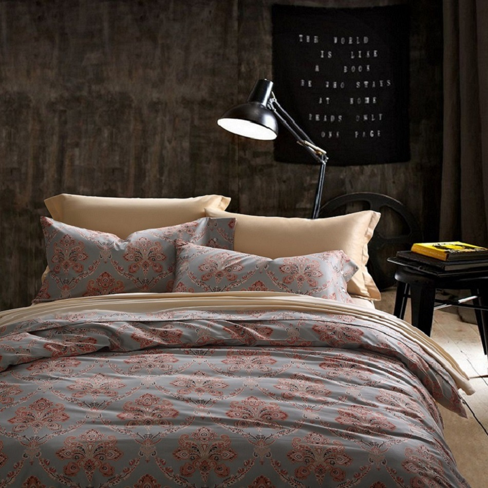 CHAUSUB Vintage Duvet Cover Set 4PCS Satin Egyptian Cotton Bedding Set Silky Bed Cover King Queen Size Bed Sheets Pillowcase