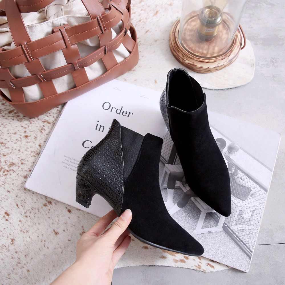 Yarım çizmeler kadınlar Yavru Topuklar Ayakkabı Sivri Burun Kadın Ayakkabı Kış Moda düşük Topuklu Sonbahar ayakkabı bayanlar Artı Boyutu 34- 43 marka
