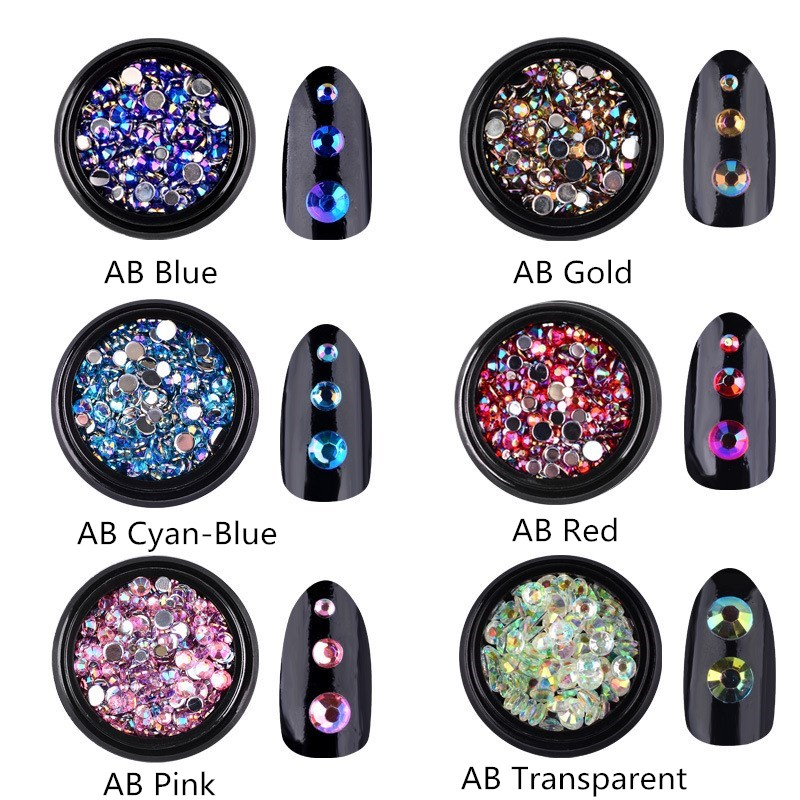 1 Box Mix Colorful Acrylic Nail Art Glitter AB Rhinestone 3d Crystal Nails Decorations Charm Manicure Accessories
