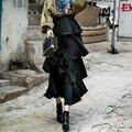 [TWOTWINSTYLE] 2017 Весна Высокая Талия Лоскутные Слои Оборками Юбки Женщин Новая Мода Уличная