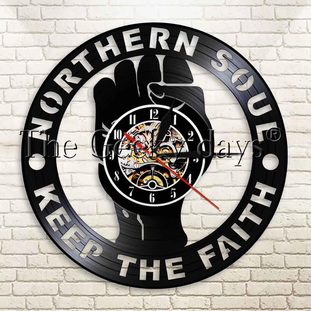 1Piece Northern Soul Keep The Faith Vintage Vinyl Record Wall Clock Home Decor Art Wall Watch Time Clock Handmade Design Gift