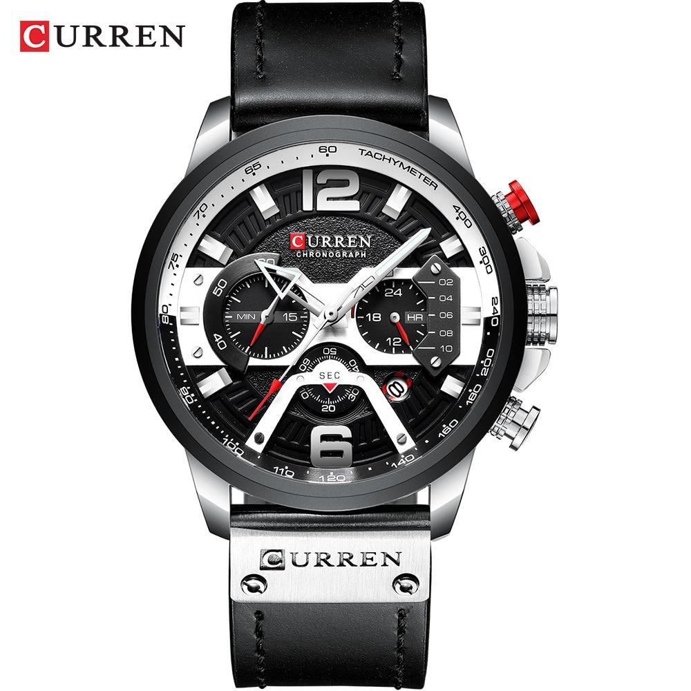 Relogio Masculino hommes montres haut de gamme hommes de luxe militaire Sport montre bracelet en cuir montre à Quartz erkek saat Curren 8329|Montres à quartz| |  -