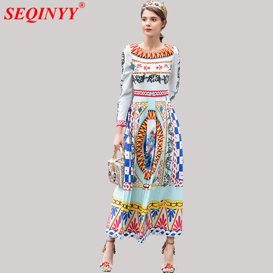Geometric Abstract Print Woemn Dress 2018 Early Spring Fashion New Wrist Exquisite Beading Empire Large Swing Ankle-Length Dress abstract print swing dress