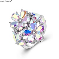 2017 Romantic Huge Flower Jewelry with Mystic Stone 925 Sterling Silver Ring for women evening party brightest star