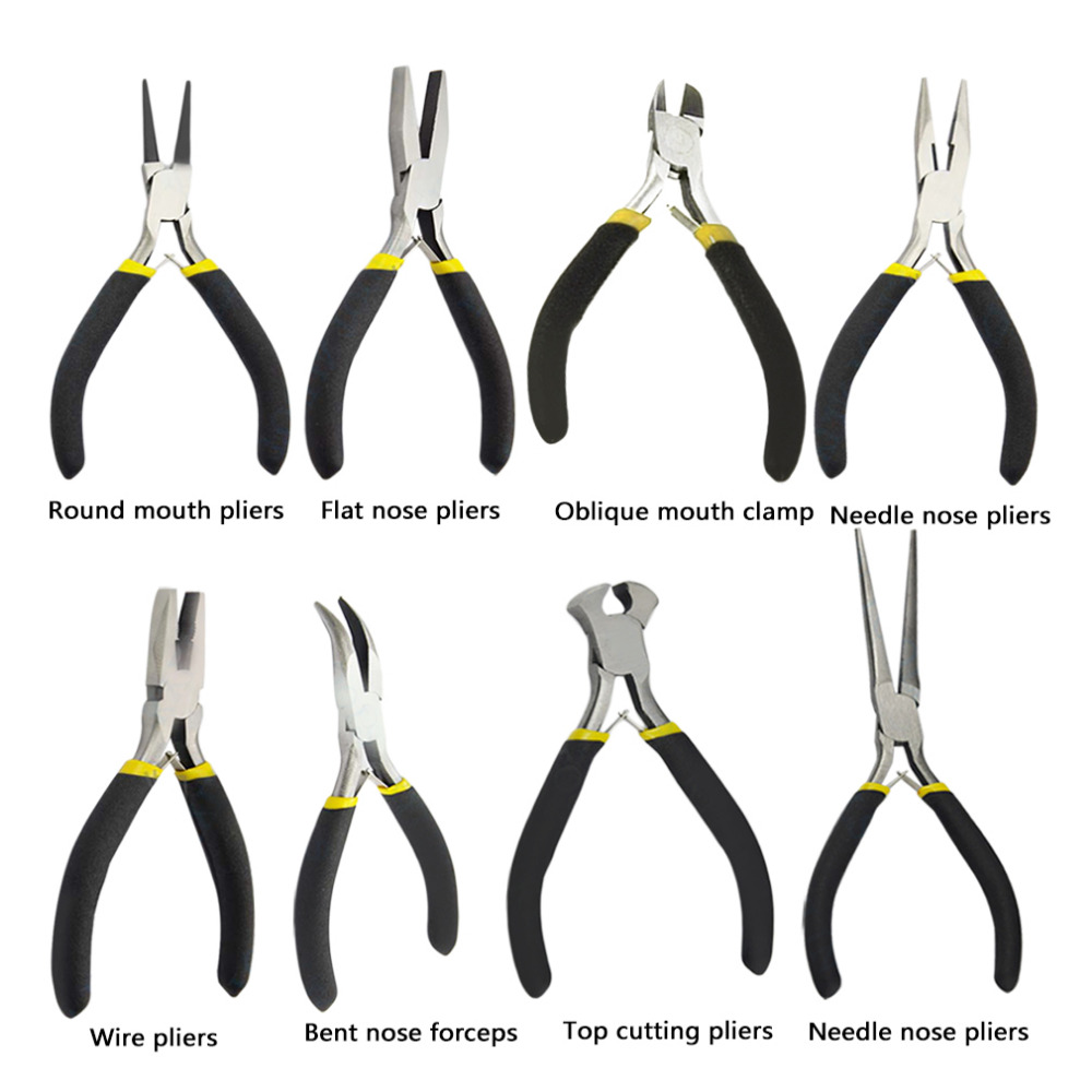 OUTAD New Jewellery Making Beading Mini Pliers Tools Kit Set Round Flat Long Nose 7pcs mini beading pliers tools round flat long nose multi size pliers set