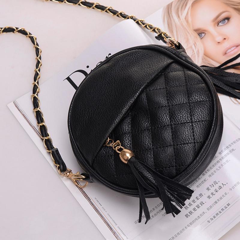 цена на Candy color tassel chain small bags girls messenger bag leather crossbody bags handbags