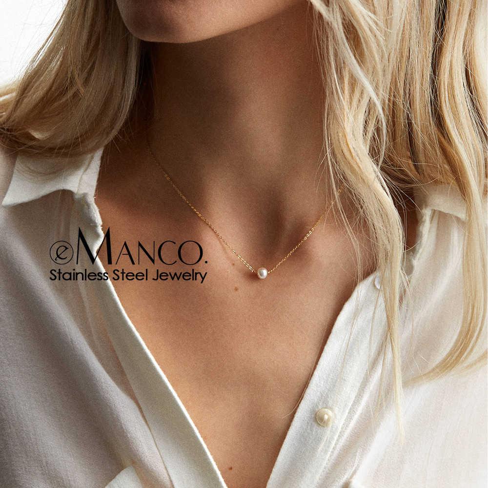 E-מנקו שיק מדומה פנינה תליון שרשרת לנשים קולר Neklace נשים נירוסטה שרשרת תכשיטים