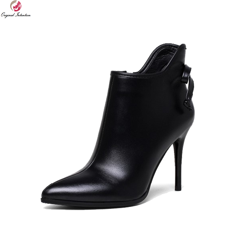 Original Intention New Fashion Women Ankle Boots Genuine Leather Sexy Poinited Toe Thin Heels Black Shoes Woman US Size 4-10.5 usage intention framework