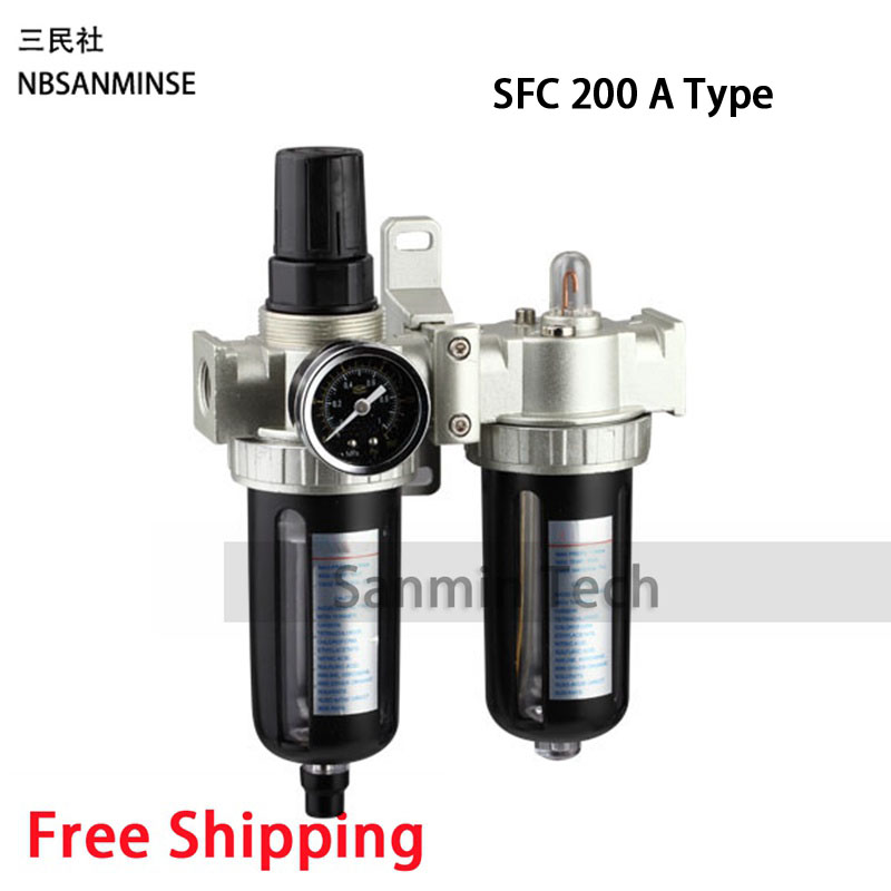 Free Shipping SFC200 SFC300 SFC400 Two Units Air Filter Regulator Lubricator  FRL Units Air Compressor Filter Regulator Sanmin free shipping ac2000 bc2000 three units air source units airtac type frl units air compressor filter regulator sanmin