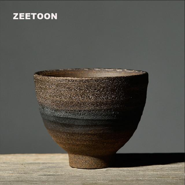 Zen Japanese Style Vintage Coarse Pottery Teacup Handmade Tea Cup Kung Fu Tea Set Master Cup Tea