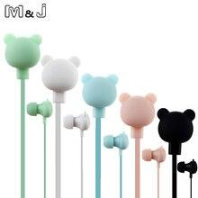 M&J Colorful Cartoon Cute Earphone Studio with Mic Button Remote Bear Earphone for iPhone Samsung Huawei xiaomi Birthday Gift
