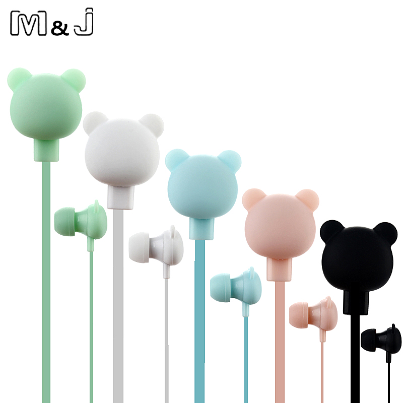 M & J Colorful Kartun Cute Earphone Studio dengan Butang Mic Earpod Beruang Jauh untuk iPhone Samsung Huawei xiaomi Birthday Gift