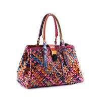 2017 Nova Moda Multicor feminino PU Bolsas De Couro Genuíno Weave Bolsas de Ombro Saco Saco Do Mensageiro das Mulheres bolsa colorida