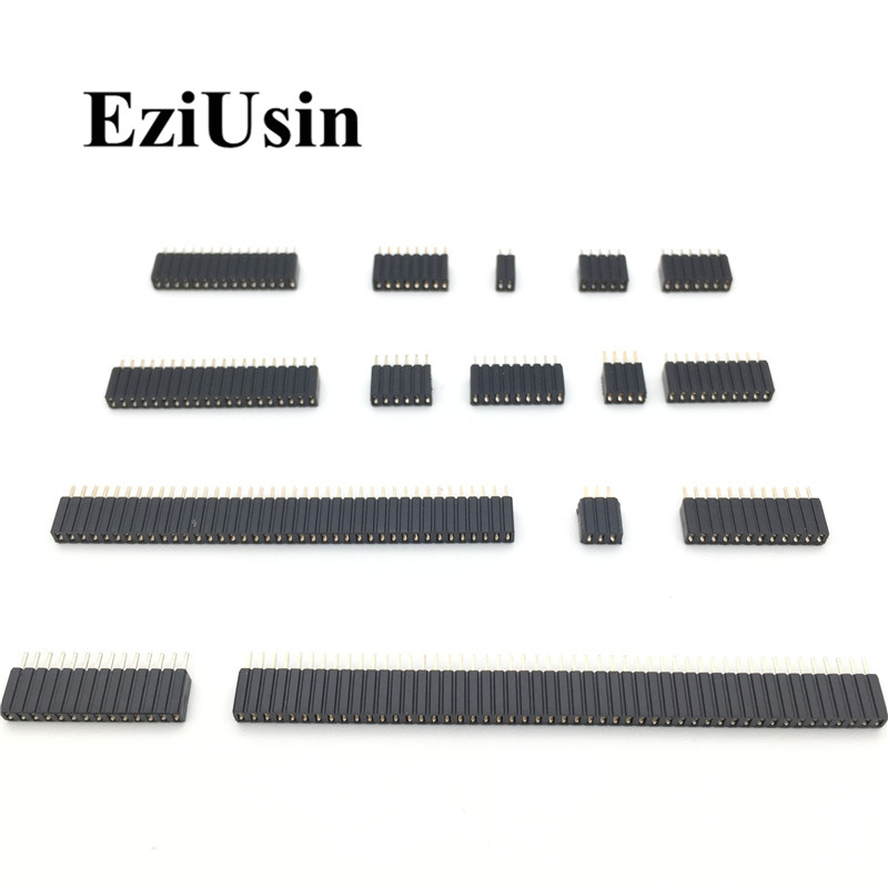 1.27mm 1.27 Pin Header Single Row Female Breakaway PCB Board  Connector Pinheader 1*3/4/5/6/8/10/12-40p Plastic Height  4.6mm