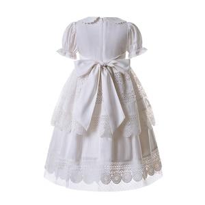 Image 3 - Pettigirl biały haft kołnierzyk dla lalek kwiat dziewczyna komunia jednolity kolor, długi Party warstwy sukienka B455 (długość sukni pod kolanem)