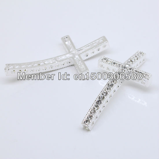 Wholesale 50pcs/Lot Fashion Clear Rhinestone Silver Curved Side ways Cross Connectors Beads For Bracelet DIY Jewelry Findings
